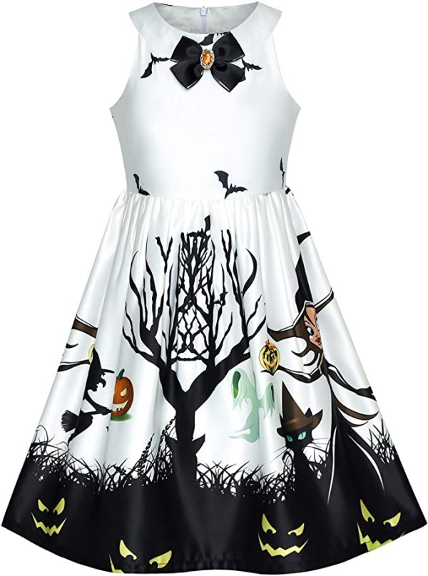 Sunny Fashion Girls Dress Halloween Witch Bat Pumpkin Costume Halter Dress Age 7-14 Years 1