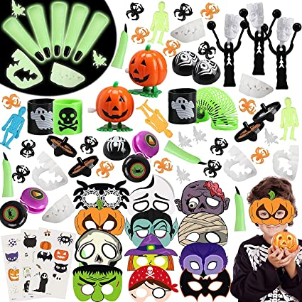 BeYumi 102Pcs Halloween Party Favors Toys Bulk Novelty Game Toy for Kids Halloween Masks Costumes Stickers Decorations Pinata Fillers Classroom Rewards Trick or Treat Goodie Bags Assortments 1