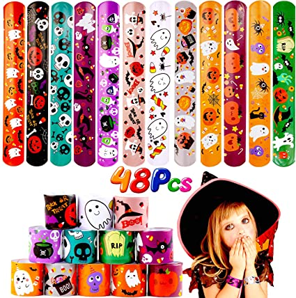 LOKIPA 48 PCS Halloween Slap Bracelets Wristband for Kids Snap Bracelets for Halloween Party Favors Bag Fillers 1