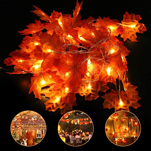 Halloween Fall Maple Leaf Light Decoration, 19.68ft 40 LEDs Autumn Waterproof Garland String Light for Thanksgiving, Christmas, Home Festival Party, Indoor Outdoor 1