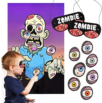FINGOOO Halloween Party Game- Pin the Eyeball on the Zombie Game, Family Party Game for Kids and Adult 1