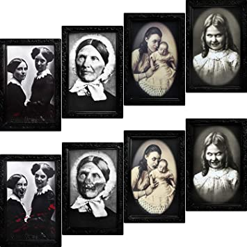 URATOT 4 Pack Halloween Horror Portrait Decorations Spooky Photo Frame 3D Changing Face Scary Picture Frame Haunted Wall Decoration for Home, Halloween Party Decor 1