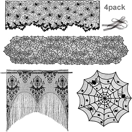 Tusenpy 4 Pieces Halloween Decorations Set Include Lace Round Tablecloth,Spider Web Table Runner and Lampshade,Bat Curtain for Halloween Party (Black) 1