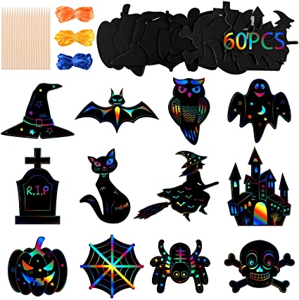 MIAHART 83 Pcs Halloween Scratch Paper Kit 12 Styles Halloween Theme Scratch Craft Kit with 20pcs Bamboo Styluses and 24M Ribbons for Halloween Party Supplies(60PCS) 1