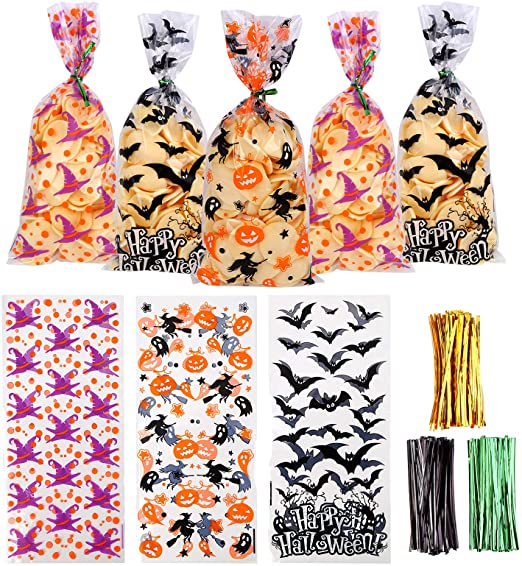 VEYLIN 150 Pieces Halloween Cellophane Bags Candy Bags with 300 Twist Ties for Halloween Party Supply 1