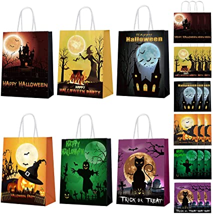 Cooraby 24 Pieces Halloween Paper Bags Trick or Treat Bags Halloween Pumpkin Paper Bags Party Gift Paper Bags for Halloween Party Supplies 1