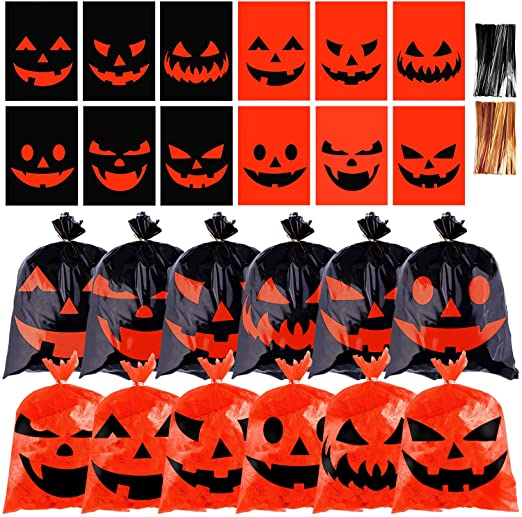 URATOT 120 Pieces Halloween Candy Bags Snack Bags Plastic Trick or Treat Candy Bags Halloween Pumpkin Candy Snack Bags with Twist Ties for Halloween Party Supplies 1