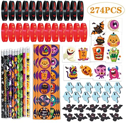 274PCS Halloween Party Favor Toys, 10 Pencils, 24 Erasers, 24 Bracelets, 144 Stickers, 72 Temporary Tattoos 1