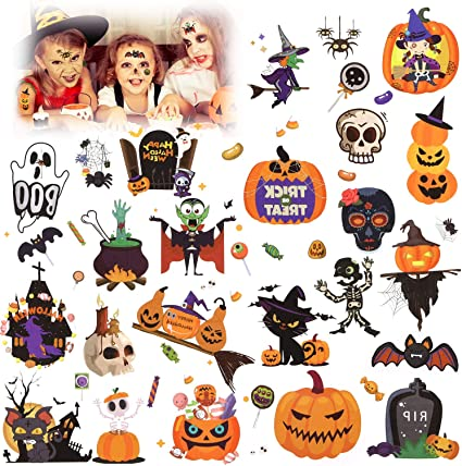 HOWAF Halloween Tattoos for Kids, Spooky Halloween Vampire Pumpkin Bats Kids Temporary Tattoo Face Stickers, Halloween Party Favors Supplies Decorations for Boys Girls 1
