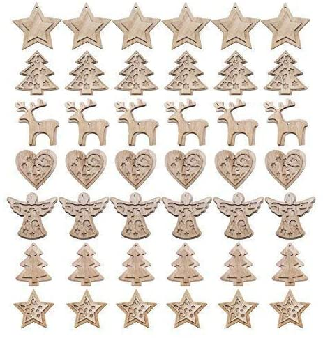 48pc Natural Wooden Rustic xmas Tree Hanging Decorations 1