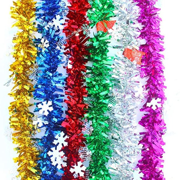 6 PCS Total 12m Christmas Tinsels Hanging with Snowflake 1