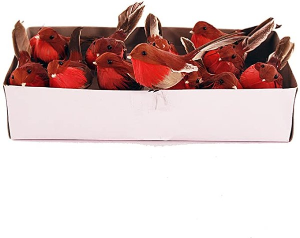 12 FloristryWarehouse Artificial Robins with Feathers 1