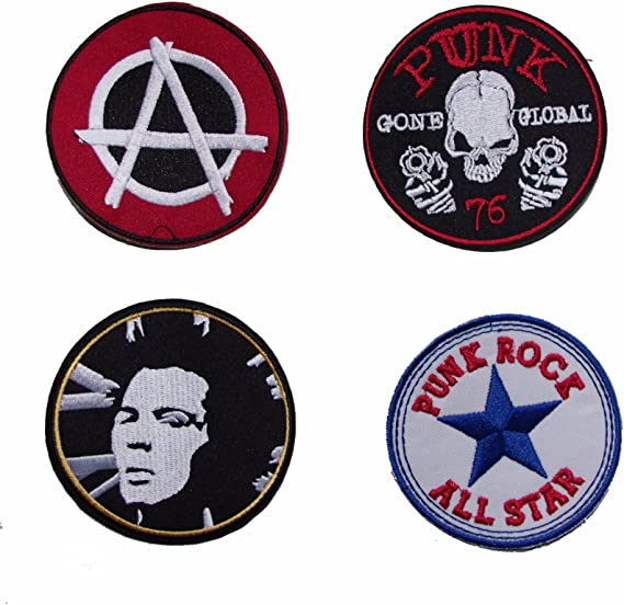 Set of 4 Classic Punk Sew On Patches Multicoloured 75mm 1