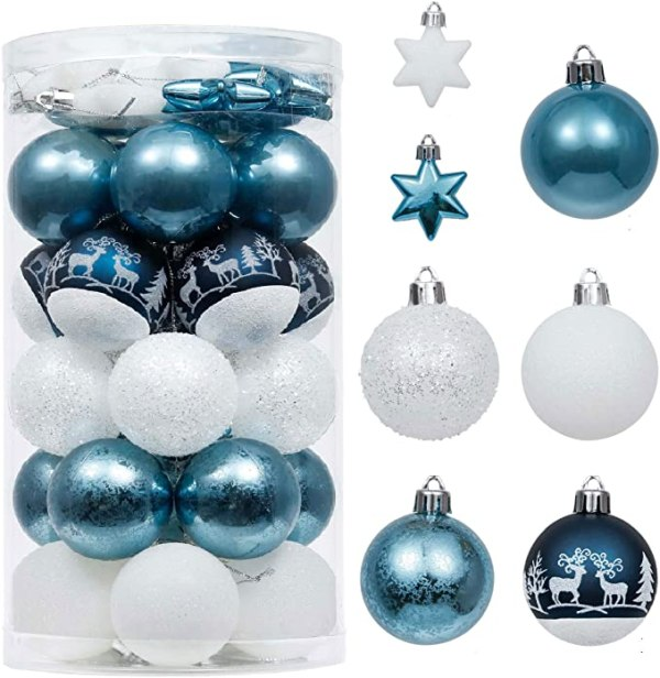 Valery Madelyn 35pcs 5cm Christmas Baubles, Winter Wishes Silver and Blue Shatterproof Christmas Ball Ornaments Decoration for Christmas Tree Decor 1