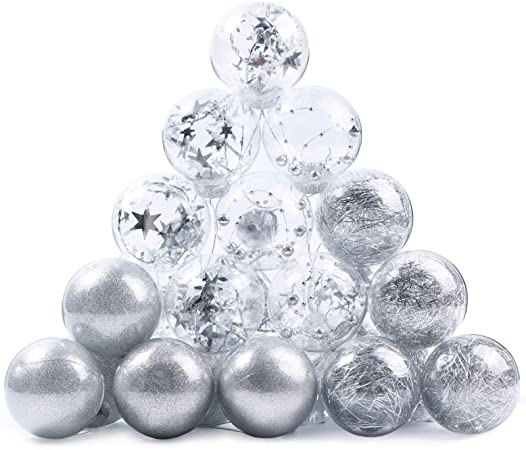 24 Pcs 6cm Sparkling Decorative Xmas Ball Ornaments Baubles 1