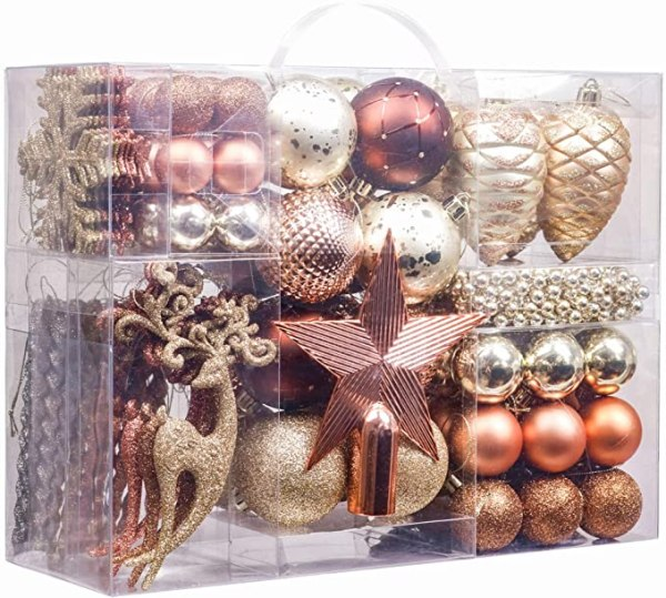 100pcs Christmas Baubles, 3-5cm Woodland Copper and Gold 1