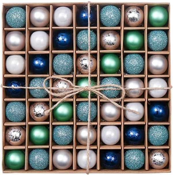 49pcs 3cm Christmas Baubles, Winter Wishes Silver 1