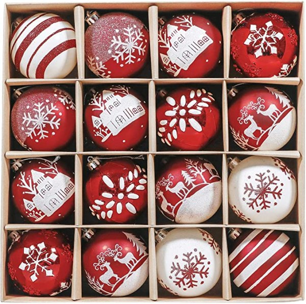 16pcs 8cm Christmas Baubles Traditional Red and White 1