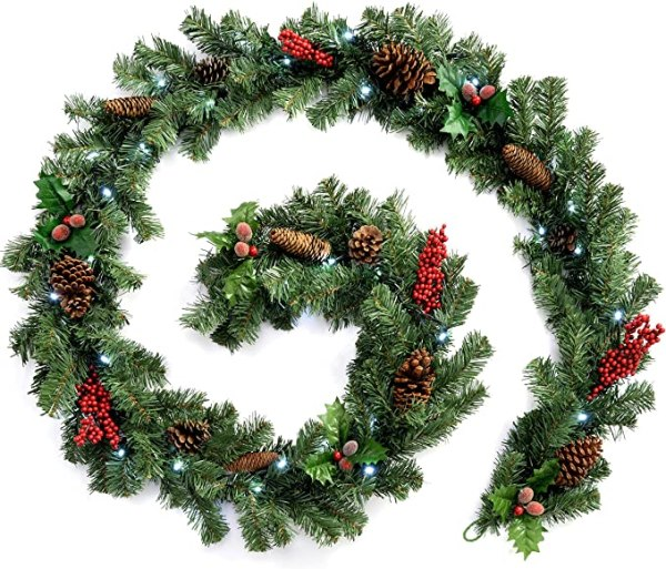 Natural Pine Cone and Berry Decorated Garland with 40 1