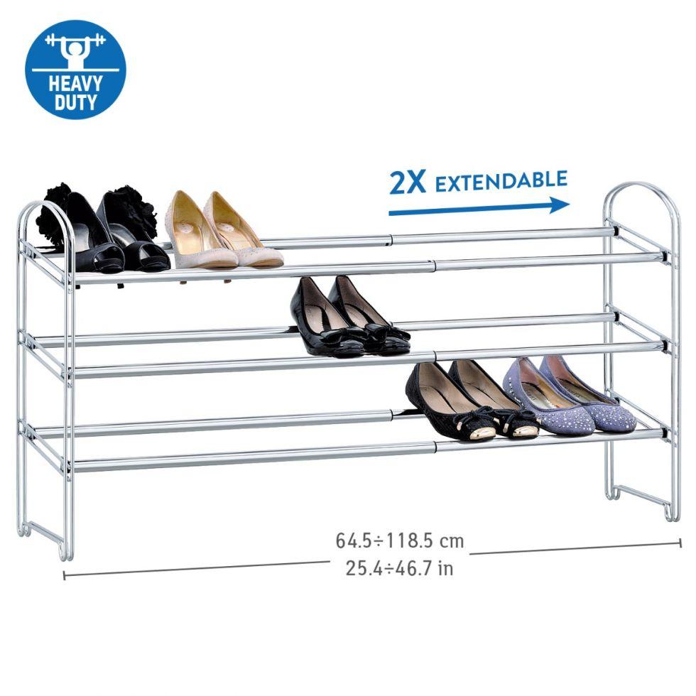 tatkraft maestro extendable shoe rack 3 tier