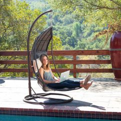 Hanging Lawn Chair Curtis Dark Brown Leather Recliner Club Review Outdoor Lounger Swing With Stand