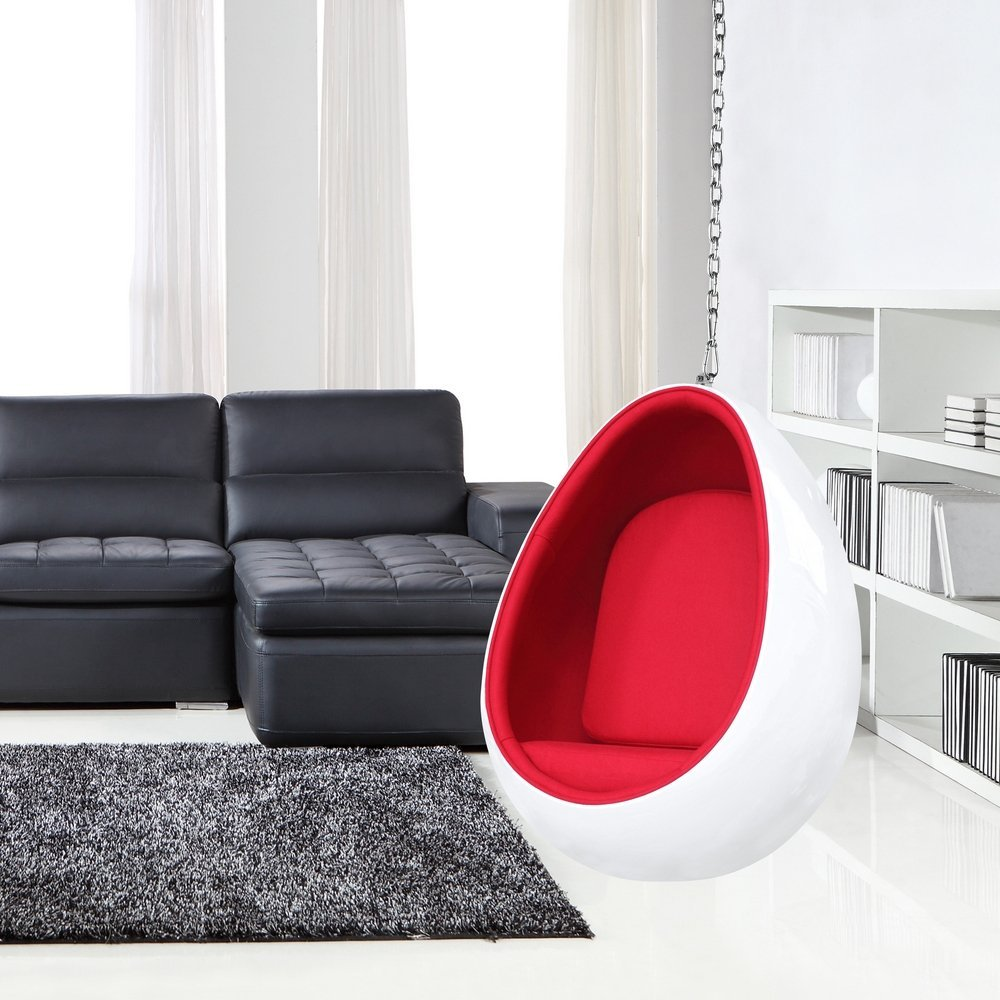 Review Contemporary Fiberglass Egg Shaped Hanging Chair