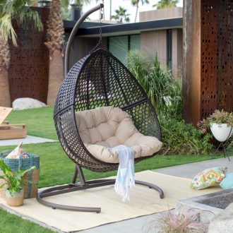 swing chair bunnings rocking chairs for nursery canada review: luxury 2 person wicker with stand