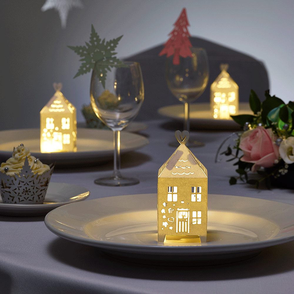 Christmas Gingerbread houses and winter wedding table favour boxes