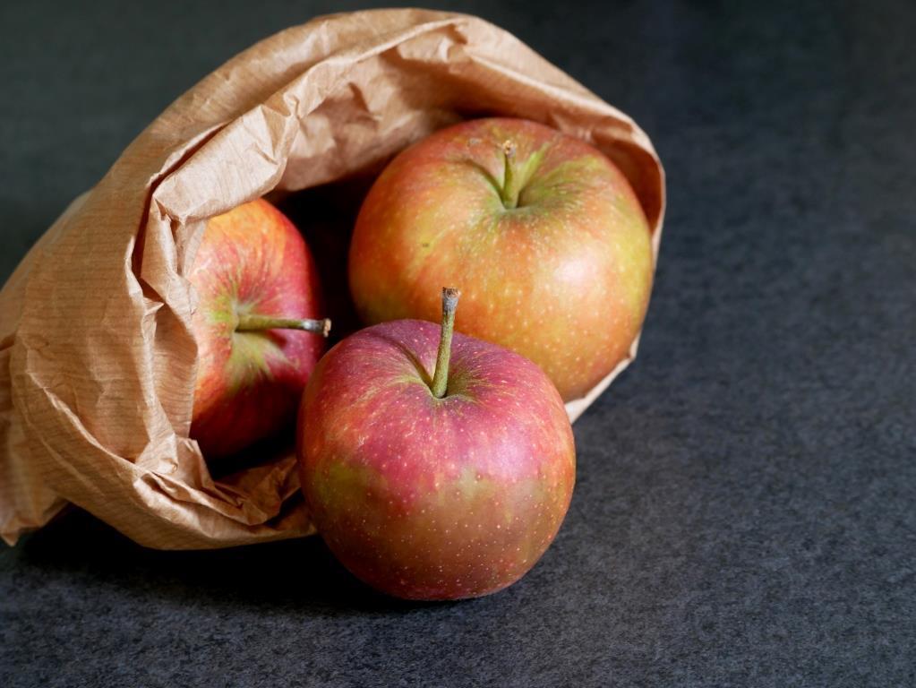 Die ersten Äpfel am Hang zum Grünen