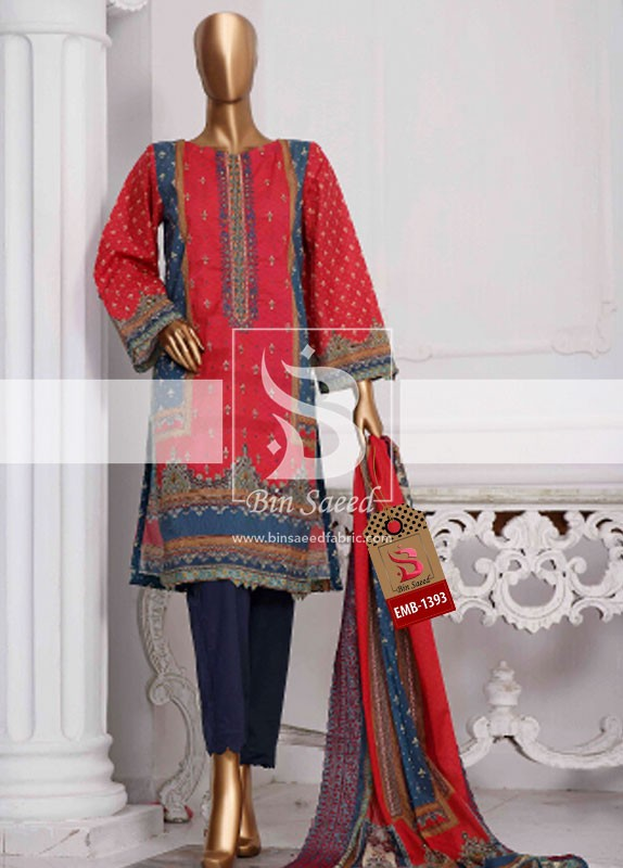 Summer Embroidered Lawn Collection Vol-1 EMB-1393 2