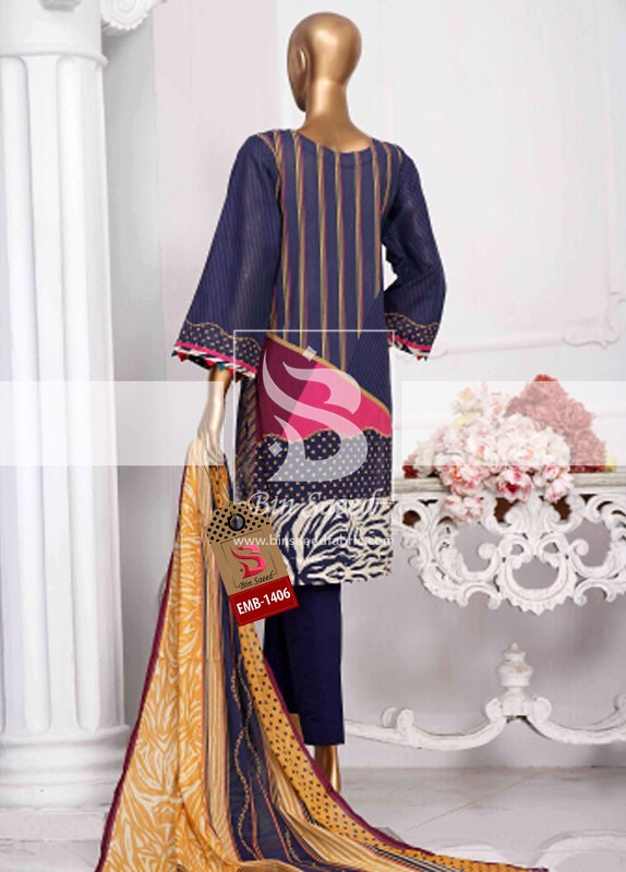 Summer Embroidered Lawn Collection Vol-1 EMB-1406 3