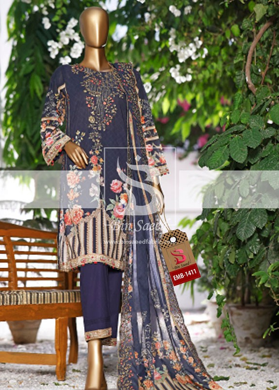 Summer Embroidered Lawn Collection Vol-1 EMB-1411 2