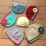 Flower Beanie Hats by HanJan Crochet Hannah Cross crochet pattern