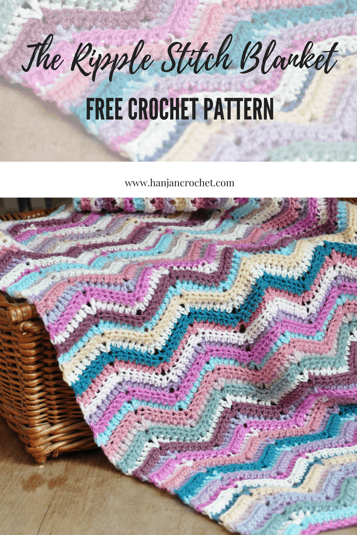 The Ripple Stitch Blanket Free Crochet Pattern Hanjan Crochet