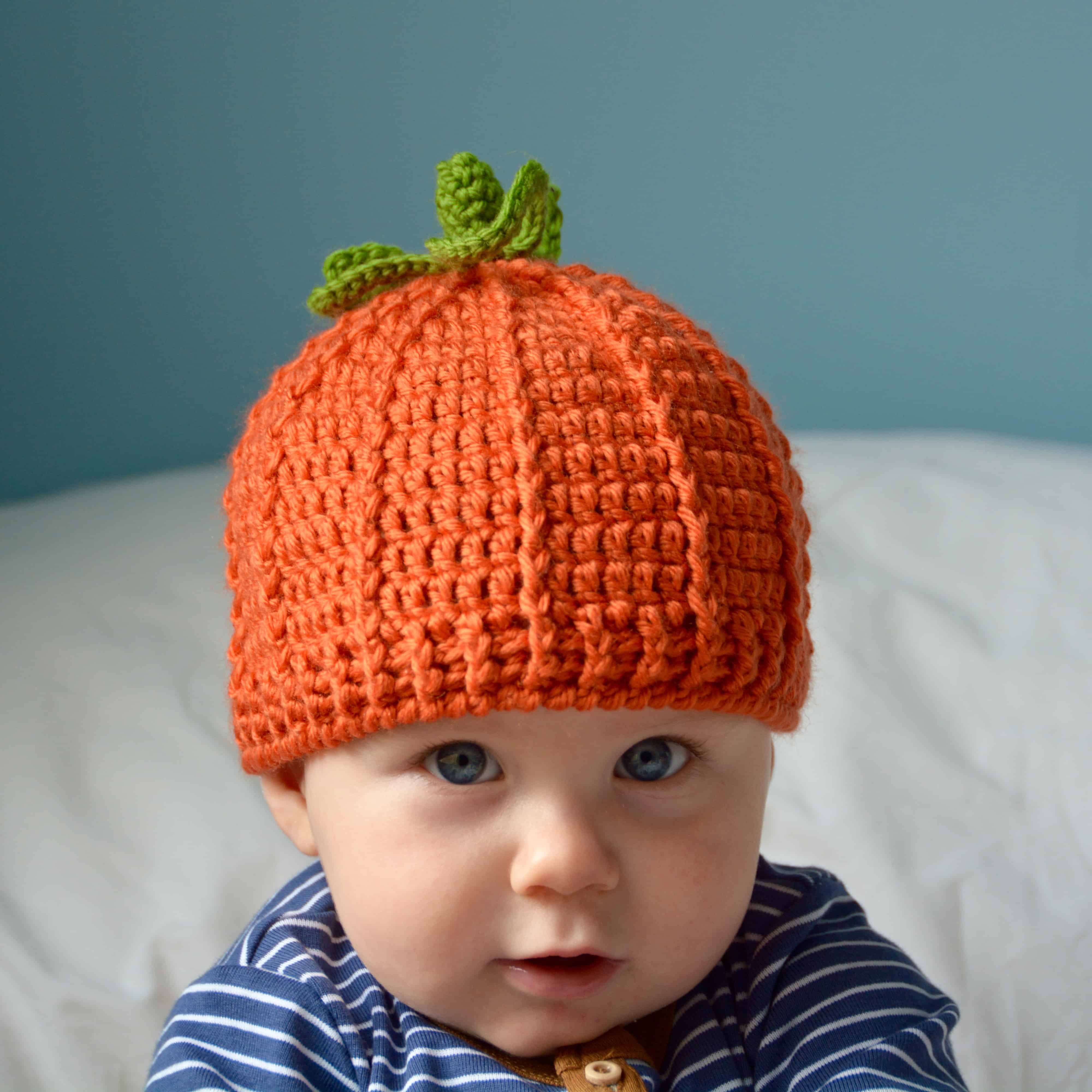 Pumpkin beanie hat free crochet pattern by HanJan Crochet