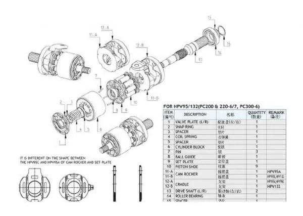 Excavator Pc400-6 Hpv132 Komatsu Hydraulic Pump Parts For