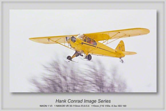 Piper Cub Flying in Snow