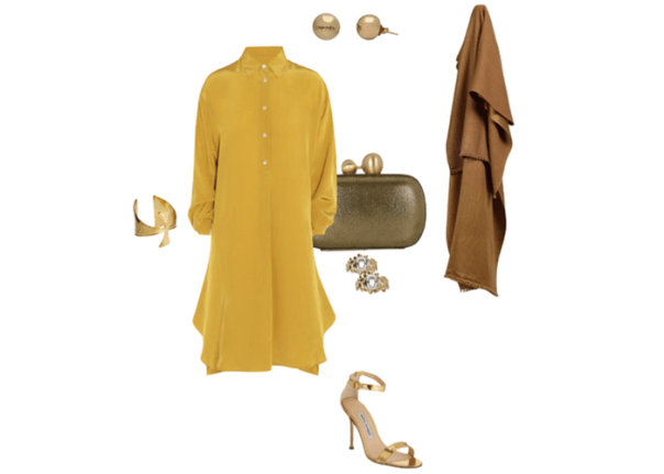 hanleymellon_dress_look_style_gold_margiela_manolo_blahnik
