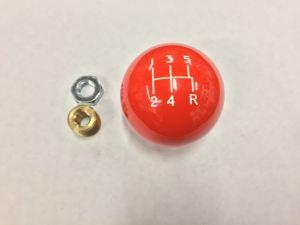 "orange, shifter ball, 5 speed, 2"" diameter, shifter ball, manual, made in the usa"