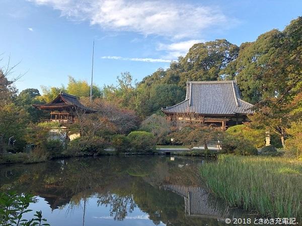 奈良一人旅・山の辺の道・長岳寺の本堂と鐘楼門
