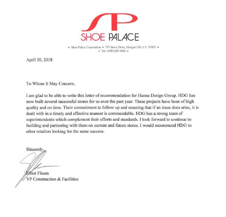 Letter of Recommendation Shoe Palace