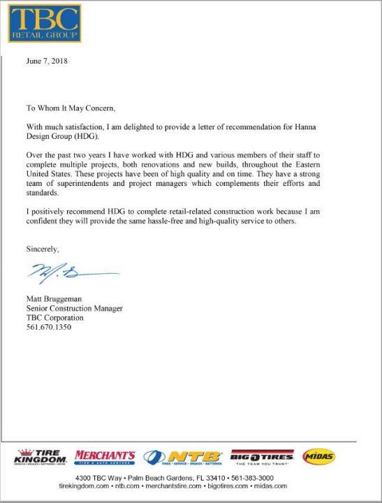 Recommendation letter – TBC Corporation