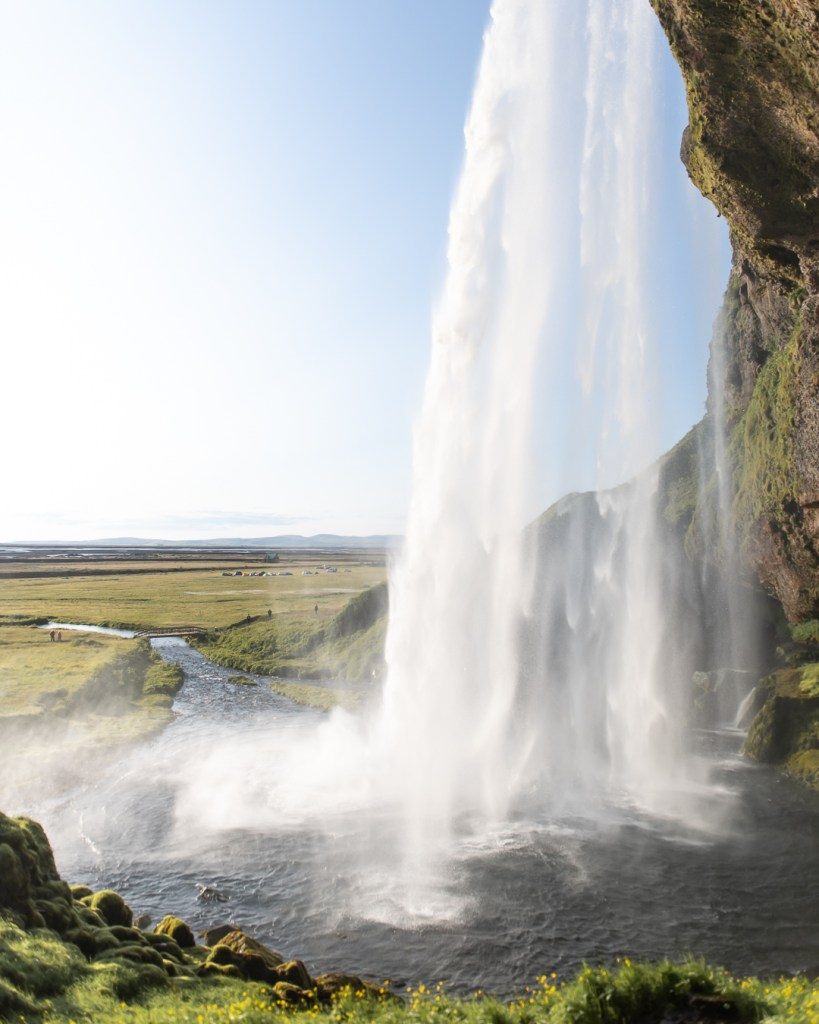 Seljalandsfoss waterfall at midsummer
