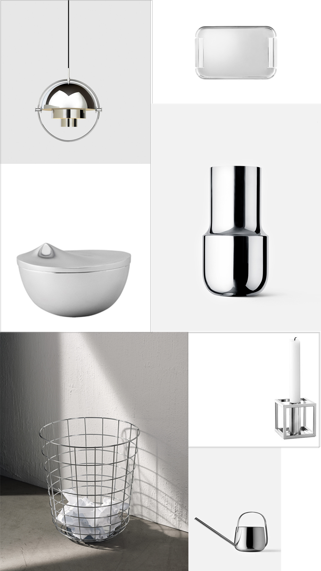 Silver and chrome Scandinavian design accessories