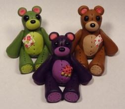 Olive Bear, Grape Bear, Chocolate Bear made of polymer clay
