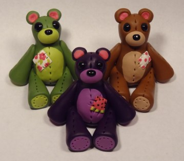 Olive Bear, Grape Bear, Chocolate Bear made of polymer clay