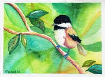 "Watercolor painting ""Chick on Cotton"""