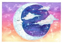 "Watercolor painting ""Dusk moon"""
