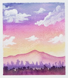 """Watercolor painting """"Mountain Sunset"""""""