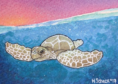 Sea Turtle at Sunset (small)